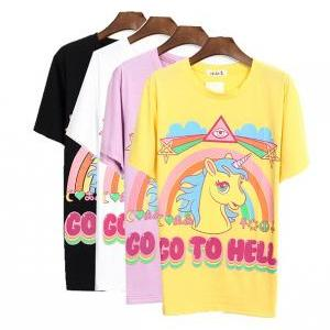 Unicorn Go to Hell Short Sleeves T-..