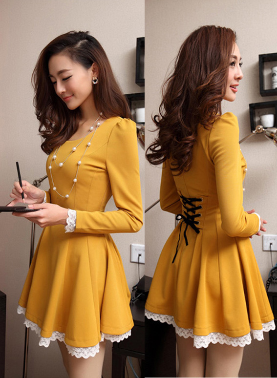 Lacing Up Back Lace Hem Long Sleeves Yellow Dress on Luulla