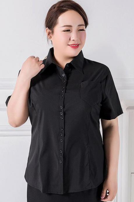 Plus Size 3XL-9XL Patched Pocket Ruched Back Women's Blouse