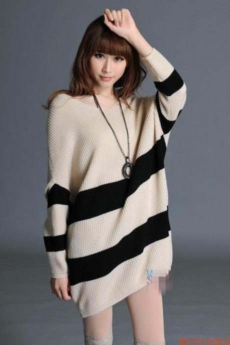 Wide Stripes Batwing Sleeves Over-sized Sweater