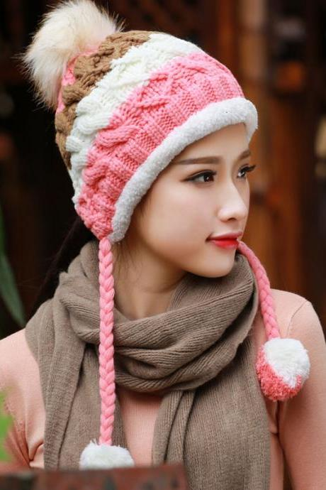 Fleecy Lining Cable Pom Bobble Beanie