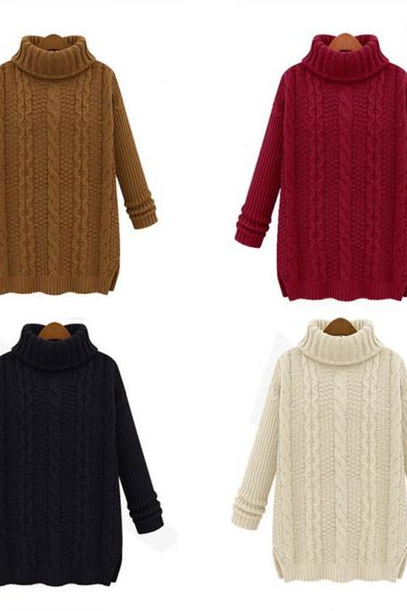 Roll High Neck Side Splits Cable Knit Sweater