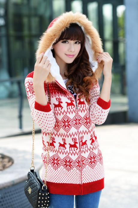 Deer Print Fleecy Hooded Long Cardigan