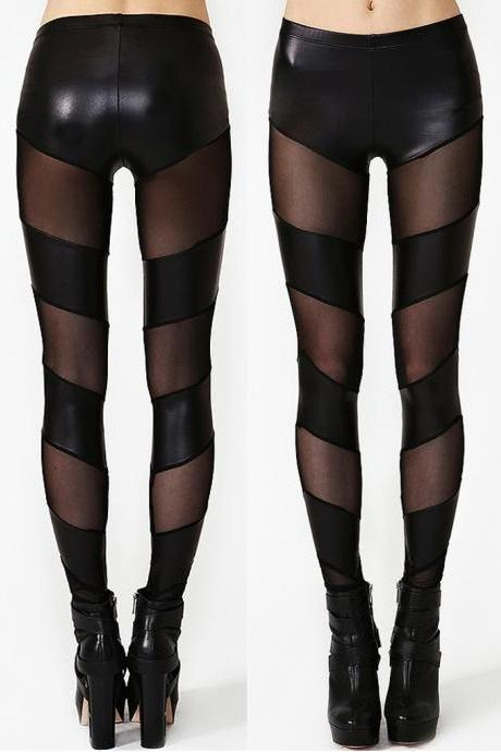 Sheer Mesh/PU Black Skinny Leggings