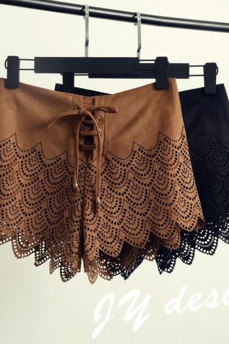 Suede Lace Cut Out Lacing Up Hot Shorts