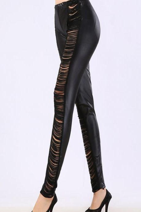 Ladder Sides Black PU Leggings